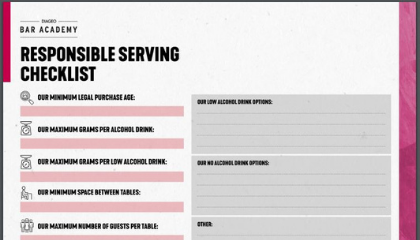 RESPONSIBLE SERVING CHECKLIST